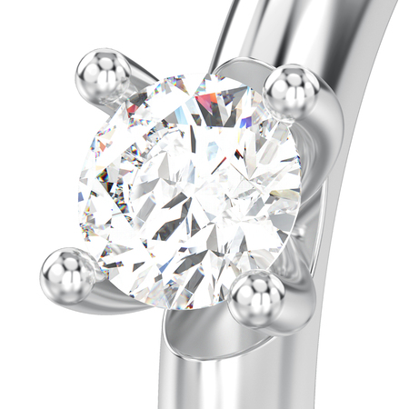 3D illustration isolated close up white gold or silver traditional solitaire engagement diamond ring on a white background Stock Photo