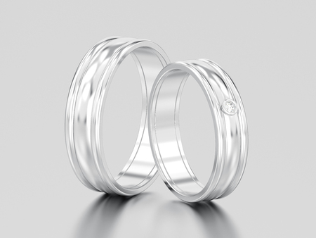 3D illustration two white gold or silver matching couples wedding diamond rings bands on a gray background