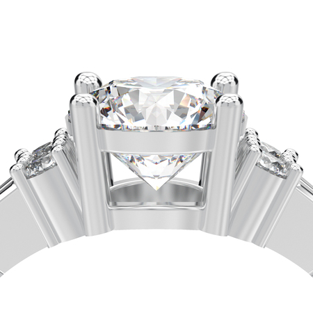 3D illustration isolated close up white gold or silver decorative solitaire engagement diamond ring on a white background