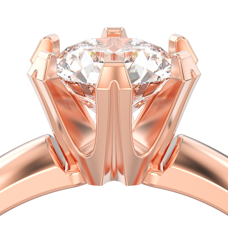 3D illustration isolated close up rose gold solitaire engagement diamond ring on a white background Stock Photo