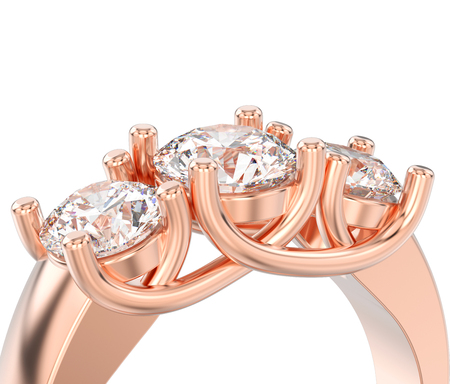 3D illustration isolated close up rose gold three stone diamond ring on a white background