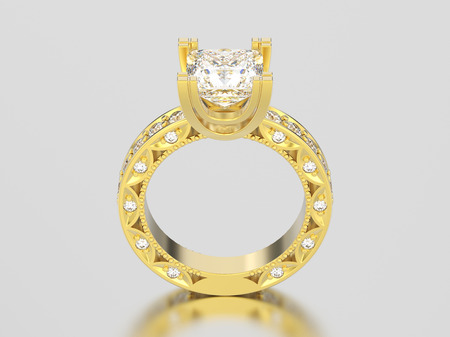 3D illustration yellow gold channel princess cut diamond engagement decorative ring on a gray background
