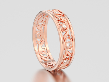 3D illustration rose gold matching couples wedding diamond ring bands on a gray background Stock Photo