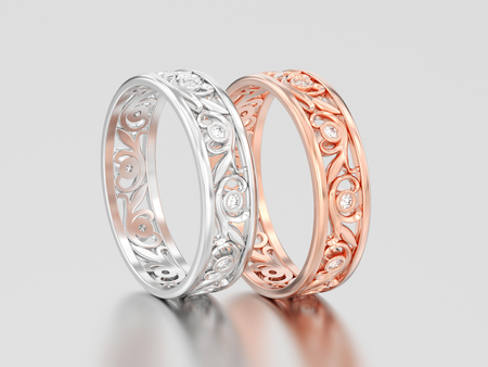 3D illustration two rose and white gold or silver matching couples wedding diamond rings bands on a gray background