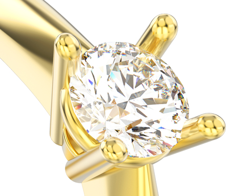 3D illustration isolated close up yellow gold solitaire engagement diamond ring on a white background Stock Photo