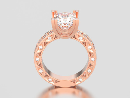 3D illustration rose gold channel princess cut diamond engagement decorative ring on a gray background Stock Photo