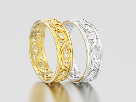 3D illustration two yellow and white gold or silver matching couples wedding diamond rings bands on a gray background Stock Photo