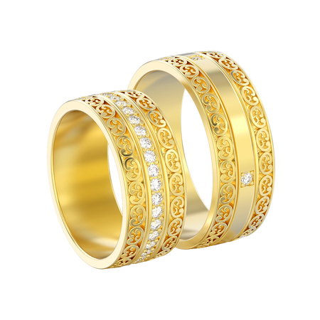 3D illustration isolated two yellow gold decorative wedding bands carved out rings with ornament on a white background