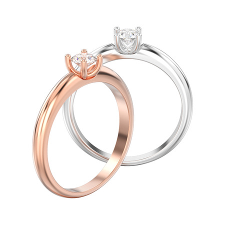 3D illustration isolated two rose and white gold or silver traditional solitaire engagement diamond rings on a white background