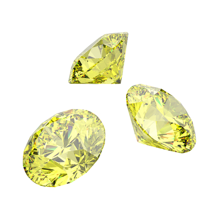 3D illustration isolated three yellow round diamonds stones on a white background
