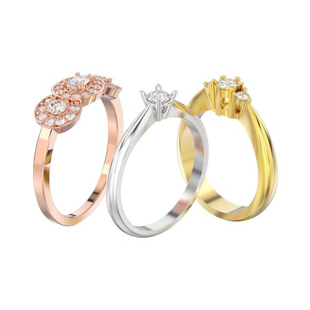 3D illustration isolated three different rose, yellow and white gold or silver diamond rings on a white background