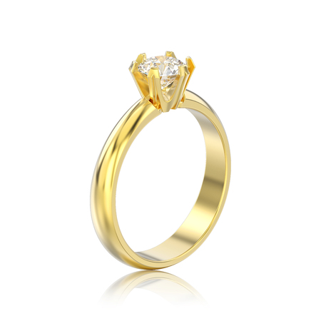 3D illustration isolated yellow gold traditional solitaire engagement diamond ring with reflection on a white background Stock Photo