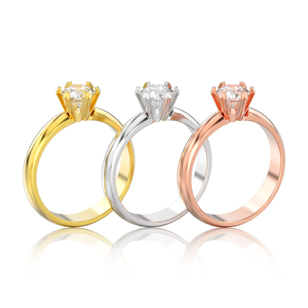 3D illustration three isolated different gold or silver traditional solitaire engagement diamond rings with reflection on a white background Stock Photo