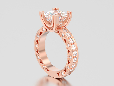 3D illustration rose gold channel princess cut diamond engagement decorative ring on a gray background