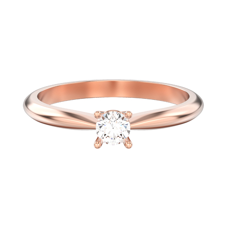 3D illustration isolated rose gold traditional solitaire engagement diamond ring on a white background