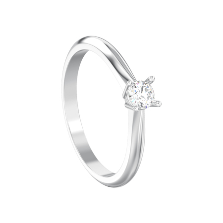 3D illustration isolated white gold or silver traditional solitaire engagement diamond ring on a white background Stock Photo