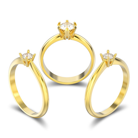 3D illustration three isolated yellow gold traditional solitaire engagement diamond rings with shadow on a white background Stock Photo