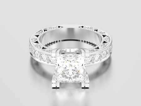 3D illustration white gold or silver channel princess cut diamond engagement decorative ring on a gray background