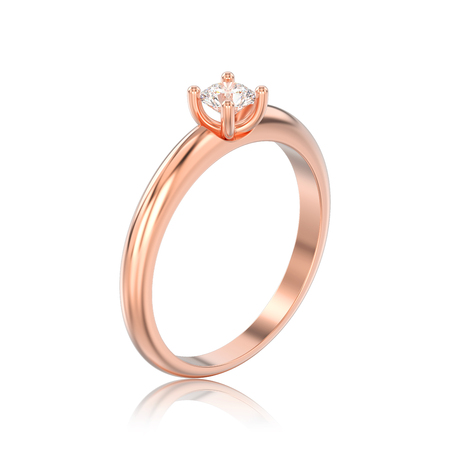 3D illustration isolated rose gold traditional solitaire engagement diamond ring with reflection on a white background Stock Photo