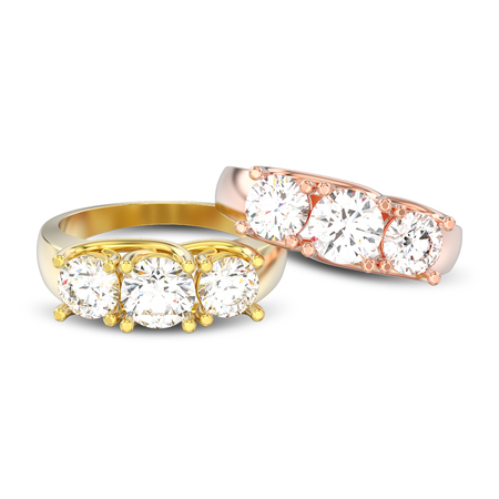 3D illustration isolated two yellow and rose gold three stone diamonds rings with shadow on a white background Foto de archivo