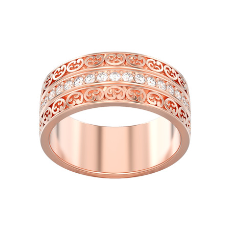 3D illustration isolated rose gold decorative wedding bands carved out ring with ornament on a white background Stock Photo