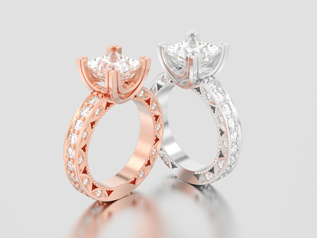 3D illustration two rose and white gold or silver channel princess cut diamond engagement decorative rings on a gray background