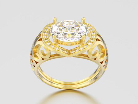 3D illustration yellow gold decorative engagement diamond ring on a gray background