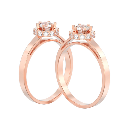 3D illustration two isolated rose gold halo bezel pave diamond rings on a white background Stock Photo