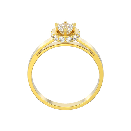 3D illustration isolated yellow gold halo bezel pave diamond ring on a white background Stock Photo