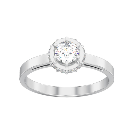 3D illustration isolated white gold or silver halo bezel pave diamond ring on a white background