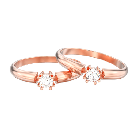 3D illustration isolated two rose gold engagement solitaire double prong basket diamond rings on a white background