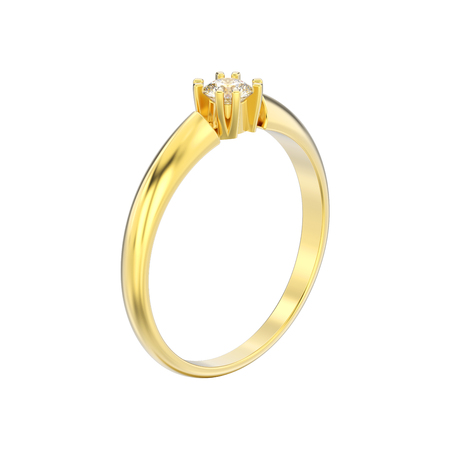3D illustration isolated yellow gold engagement solitaire double prong basket diamond ring on a white background