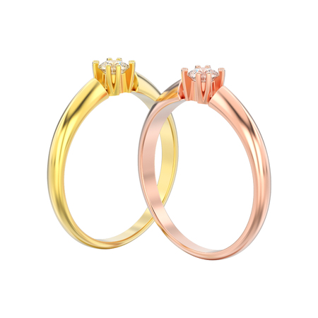 3D illustration isolated two rose and yellow gold engagement solitaire double prong basket diamond rings on a white background
