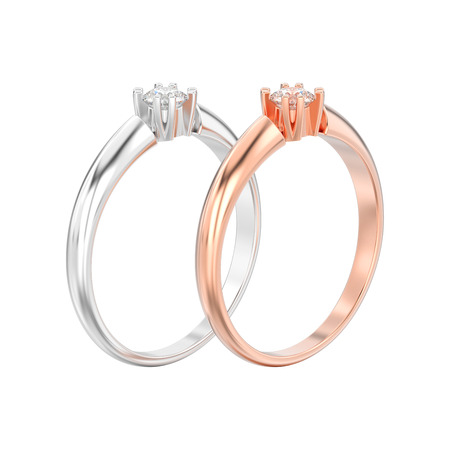 3D illustration isolated two rose and white gold or silver engagement solitaire double prong basket diamond rings on a white background