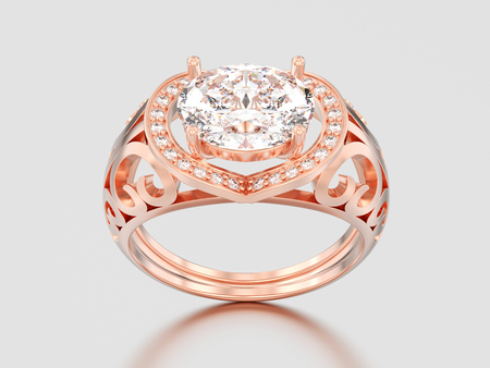 3D illustration rose gold decorative engagement diamond ring on a gray background Stock Photo