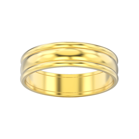 3D illustration isolated yellow gold matching couples wedding ring bands on a white background