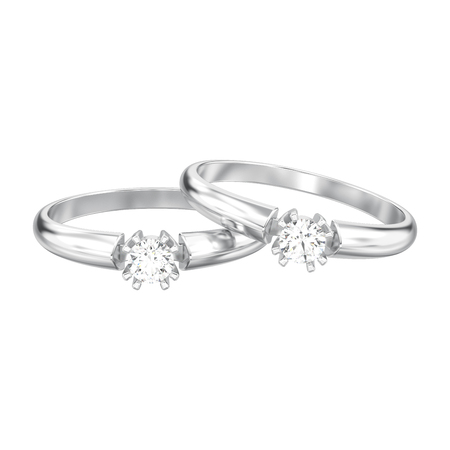3D illustration isolated two white gold or silver engagement solitaire double prong basket diamond rings on a white background