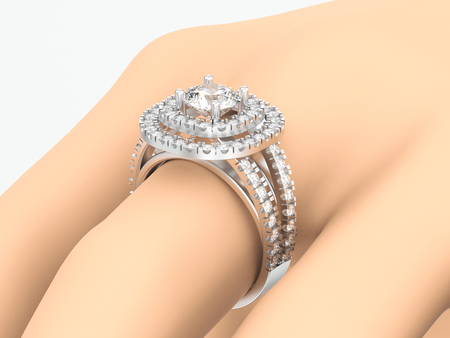 3D illustration closeup white gold or silver diamond decorative ring on hand on a gray background