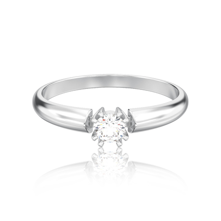 3D illustration isolated white gold or silver engagement solitaire double prong basket diamond ring with reflection on a white background