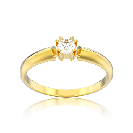 3D illustration isolated yellow gold engagement solitaire double prong basket diamond ring with reflection on a white background Stock Photo