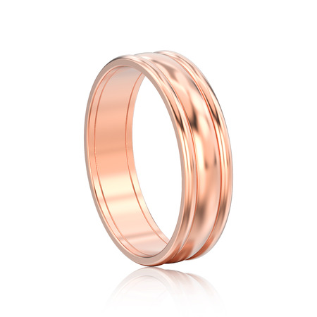 3D illustration isolated rose gold matching couples wedding ring bands with reflection on a white background