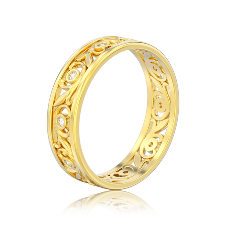 3D illustration isolated yellow gold matching couples wedding diamond ring bands with reflection on a white background
