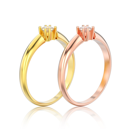 3D illustration isolated two yellow and rose gold engagement solitaire double prong basket diamond rings with reflection on a white background Stock Photo