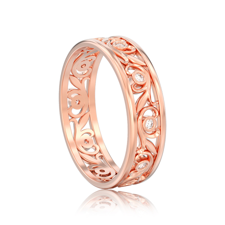 3D illustration isolated rose gold matching couples wedding diamond ring bands with reflection on a white background Stock Photo