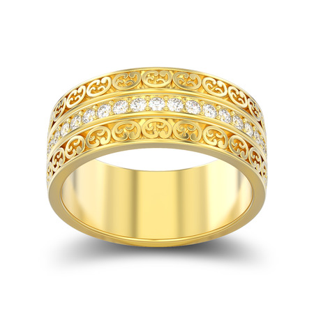 3D illustration isolated yellow gold decorative wedding bands carved out ring with ornament with shadow on a white background