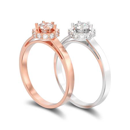 3D illustration isolated two rose and white gold or silver halo bezel pave diamond rings with shadow on a white background