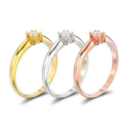 3D illustration isolated three different gold and silver engagement solitaire double prong basket diamond rings with shadow on a white background