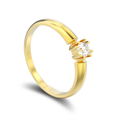 3D illustration isolated yellow gold engagement solitaire double prong basket diamond ring with shadow on a white background Stock Photo