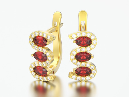 3D illustration isolated gold diamond ruby earrings with hinged lock on a gray background