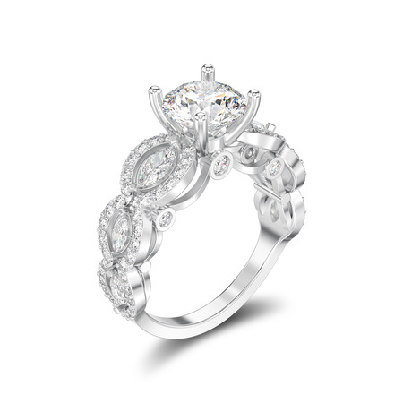 3D illustration isolated silver diamond decorative ring with shadow on a white background